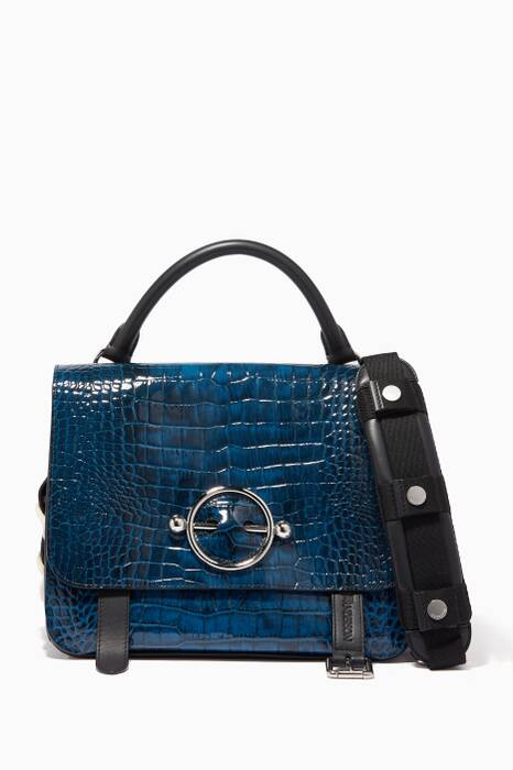 Ocean-Blue Disc Crocodile-Embossed Satchel