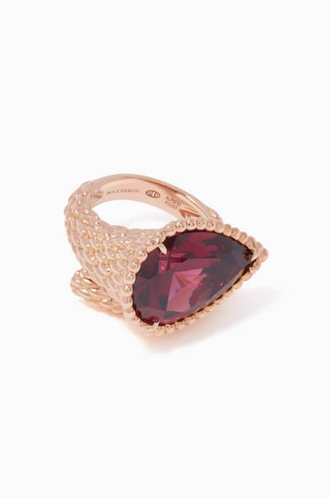 Rose-Gold & Rhodolite L Motif Serpent Bohème Ring