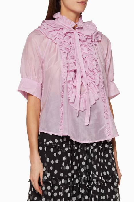 Pastel-Purple Ruffled Eva Top