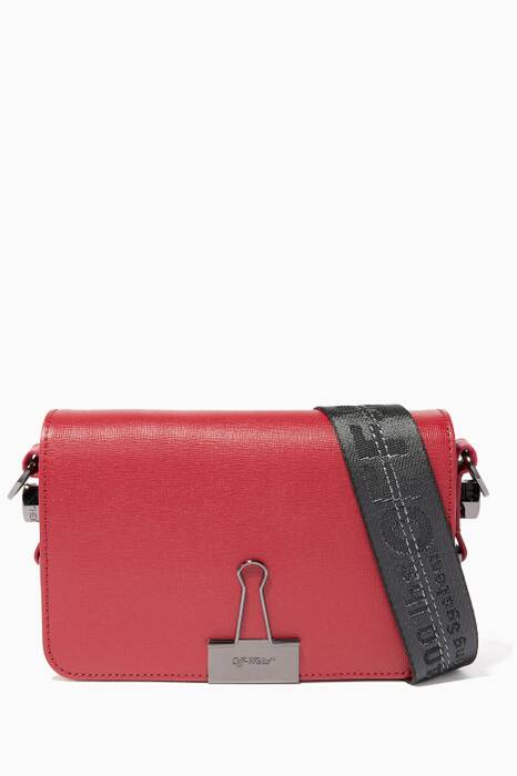 Dark-Red Mini Leather Flap Shoulder Bag
