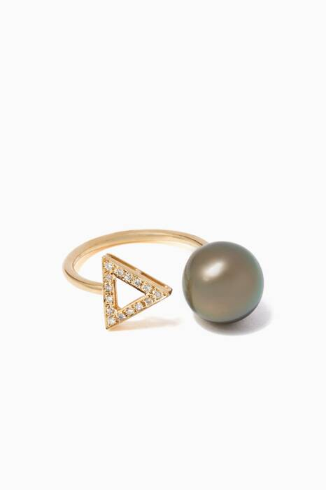 Yellow-Gold, Diamond & Pearl Ring