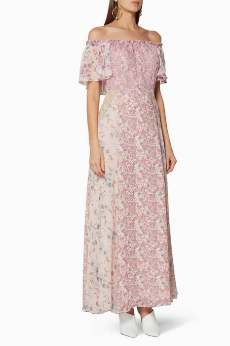Multi-Coloured Floral-Print Evelyn Maxi Dress