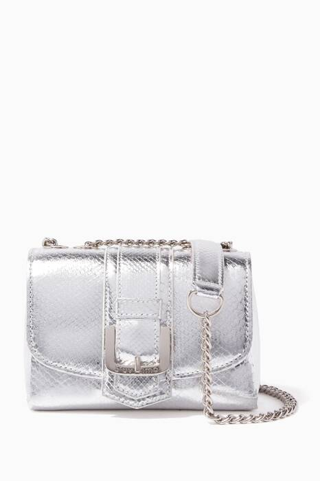 Silver Python Poppy Cross-Body Bag