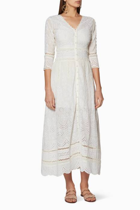 Ivory Embroidered Caroline Maxi Dress