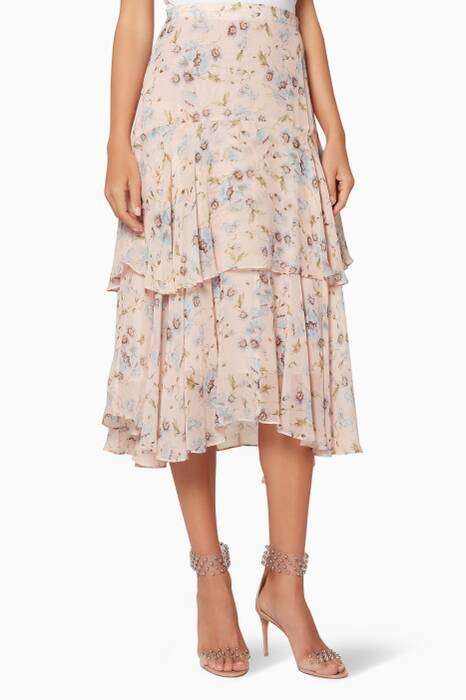 Powder-Pink Floral-Print Alex Midi Skirt