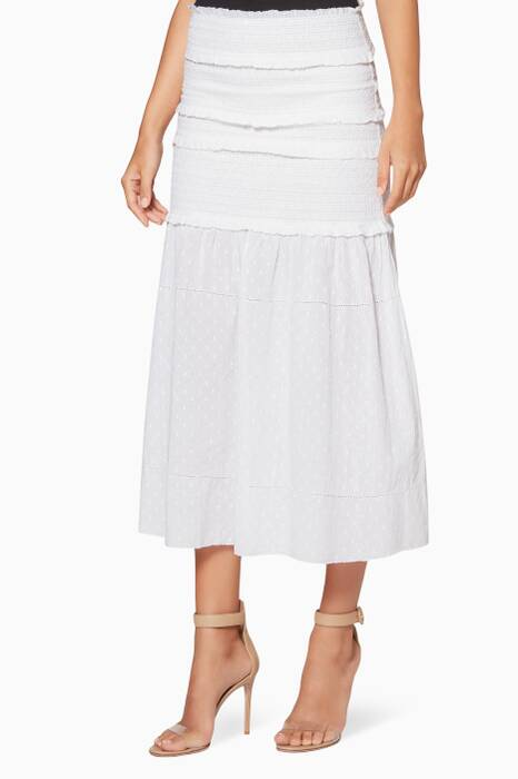 White Smocked Iva Midi Skirt