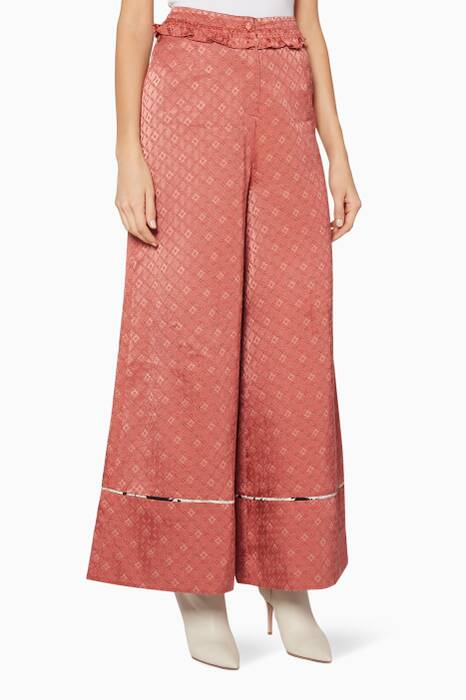 Pink Wide-Leg Cherry Pants