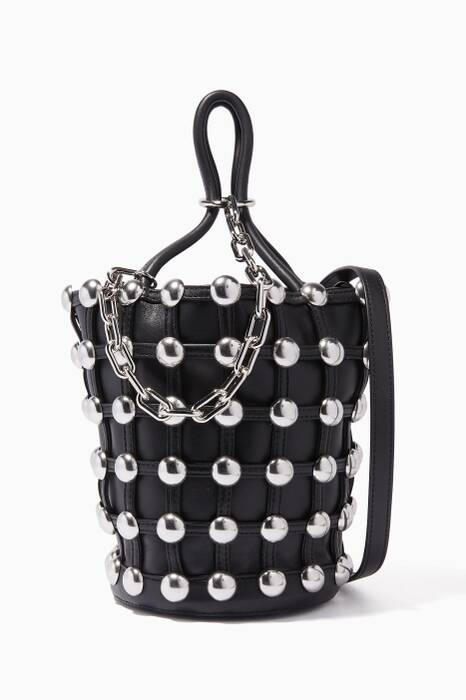 Black Large Roxy Leather Cage Bucket Bag