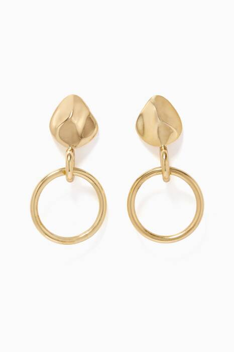 Gold Small Organic Drop Earrings