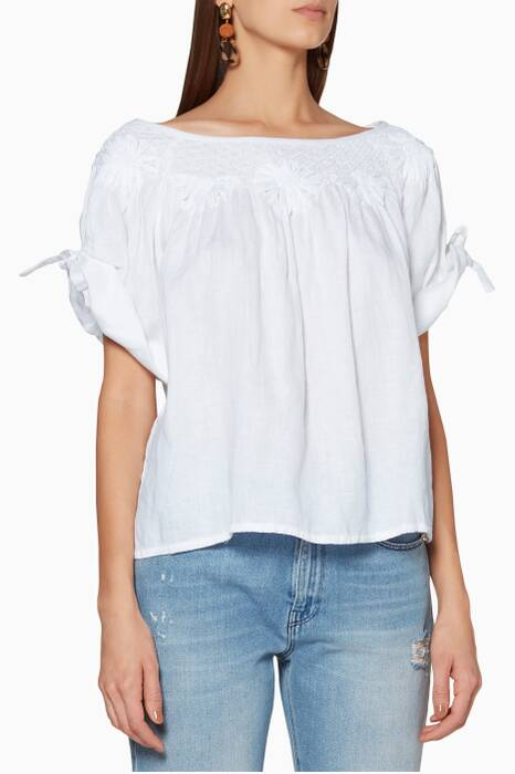 White Smocked Collar Top