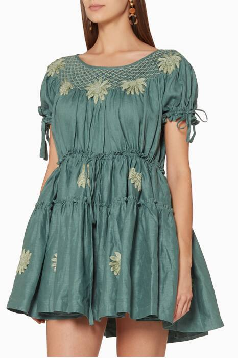 Green Mini Smock Embroidered Dress