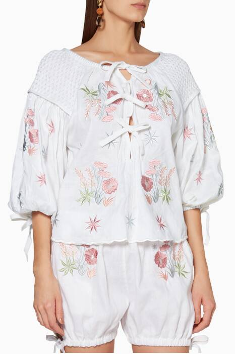 White Oliver Daily Embroidered Top