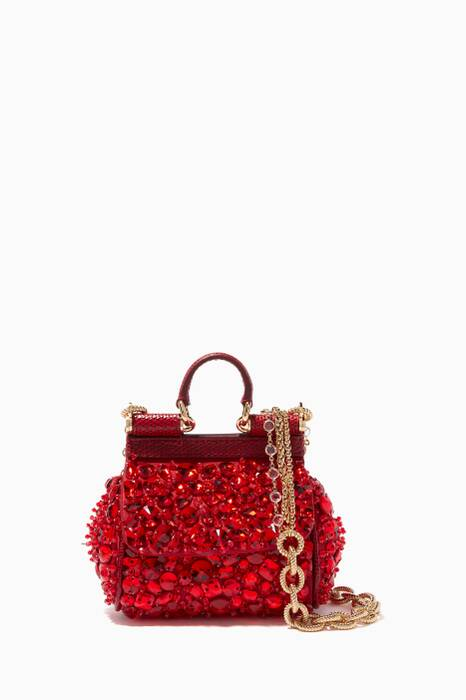 Red Micro Sicily Crystal-Embellished Cross-Body Bag
