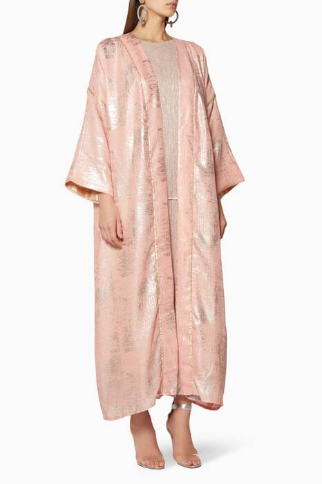 Light-Pink Metallic Mesh Abaya