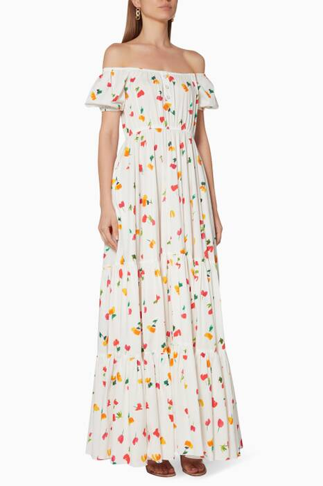White Floral-Print Bardot Maxi Dress