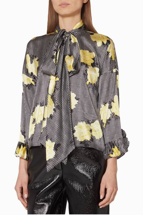 Black Floral-Print Calla Top