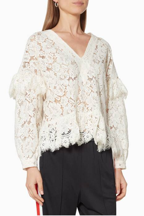 Egret-Ivory Lace Jerome Blouse