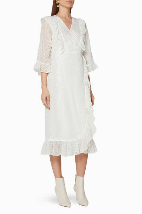 Egret-Ivory Jasmine Wrap Dress