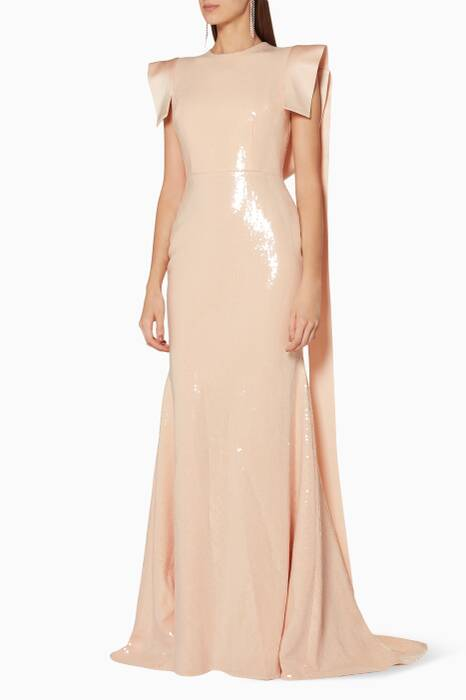 Nude Sequined Emerson Gown