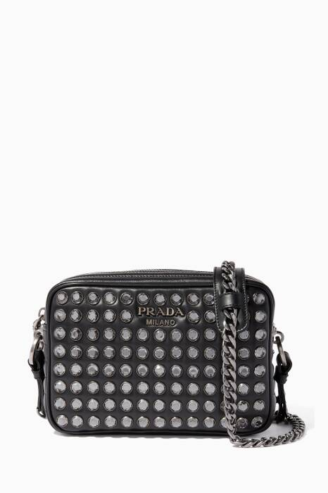 Black Diagramme Crystal Leather Cross-Body Bag