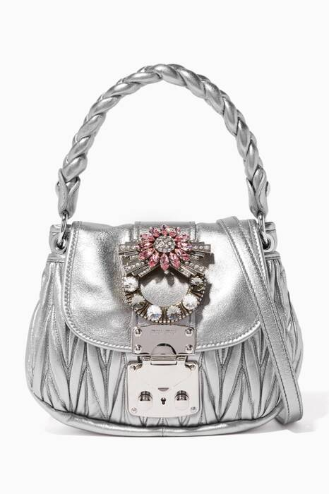 Silver Crystal-Embellished Matelassé Leather Shoulder Bag