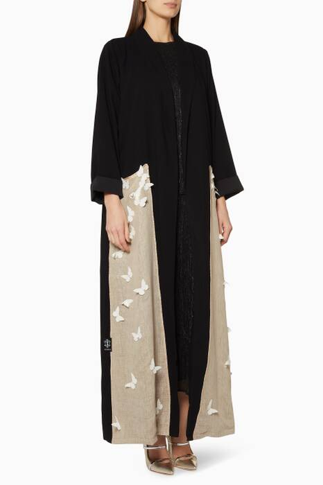 Black Butterfly Appliqué Abaya
