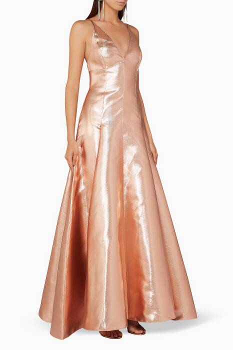 Rose-Gold Metallic Esme Gown
