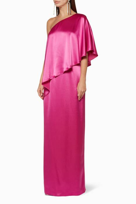 Magenta Isabella One-Shoulder Gown