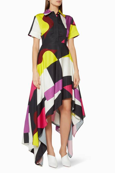 Multi-Coloured Mia Asymmetrical Hem Dress