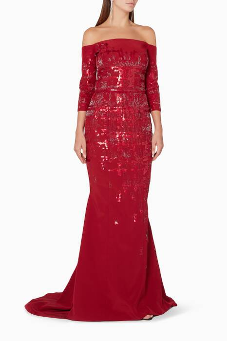 Red Embellished Mermaid Gown