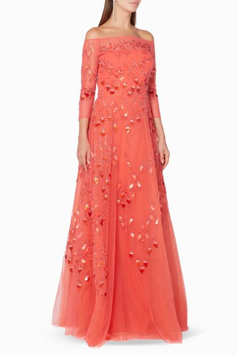Salmon-Pink Embellished Tulle Gown