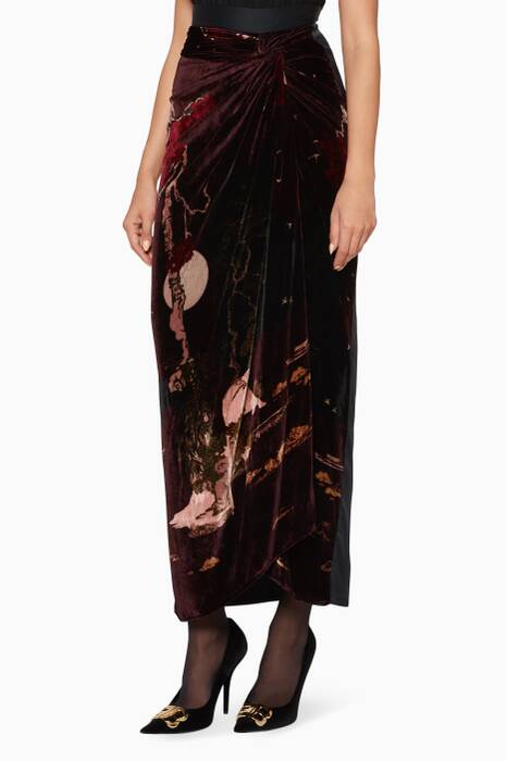 Black & Burgundy Printed Knot Skirt