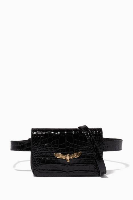 Black Baby Joelle Crocodile-Embossed Belt Bag
