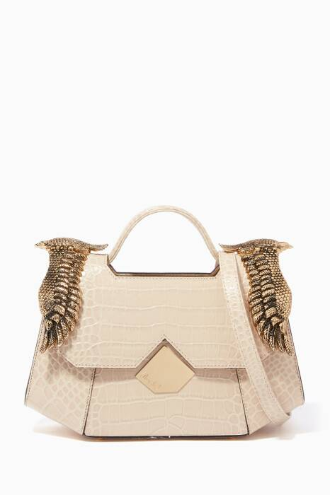 Cream Baby Colonel Crocodile-Embossed Shoulder Bag