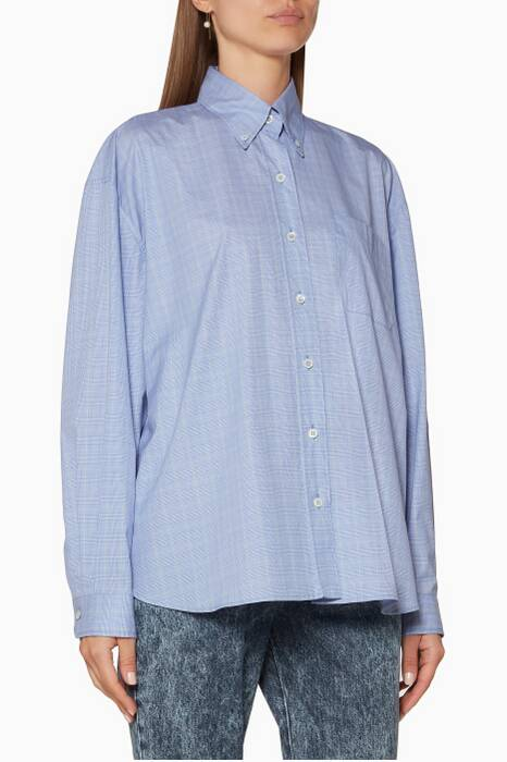 Light-Blue Prince Of Wales Check Shirt