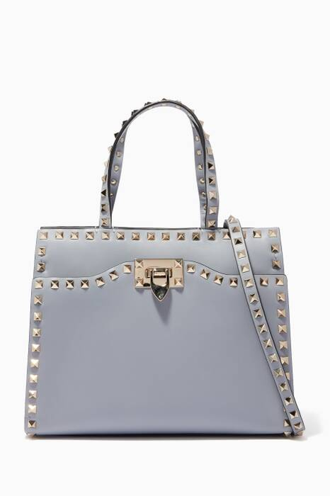Blue Small Rockstud Leather Tote Bag
