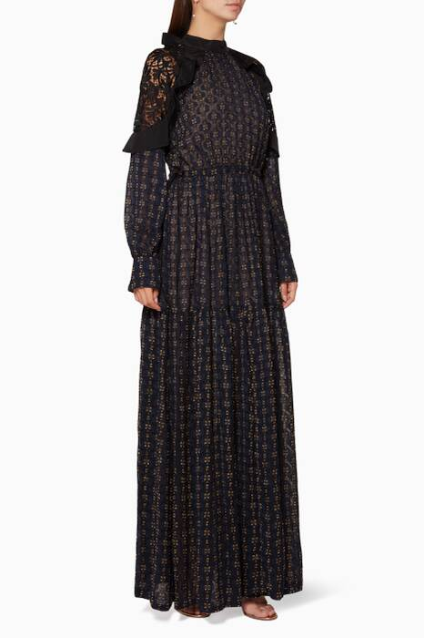 Navy Floral Fil Coupe Maxi Dress