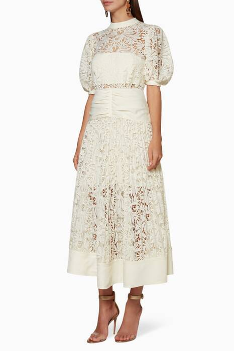 Cream Floral Lace Midi Dress