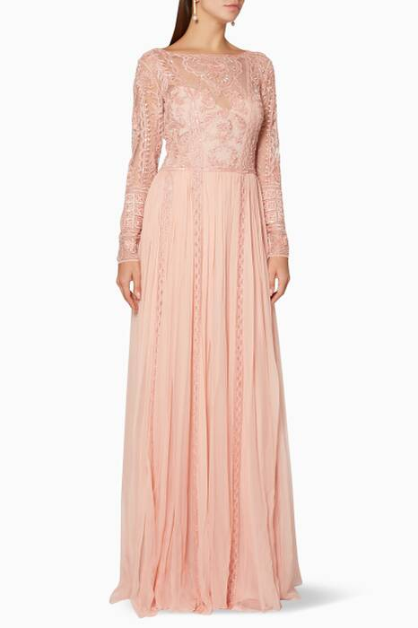 Peach-Whip Floral-Embroidered Gown
