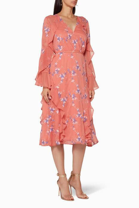 Coral Floral-Embroidered Sonder Midi Dress