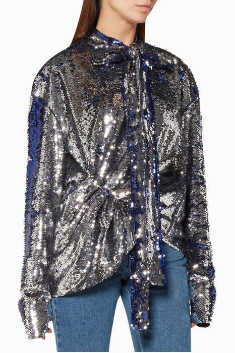 Silver Sequin-Embellished Top