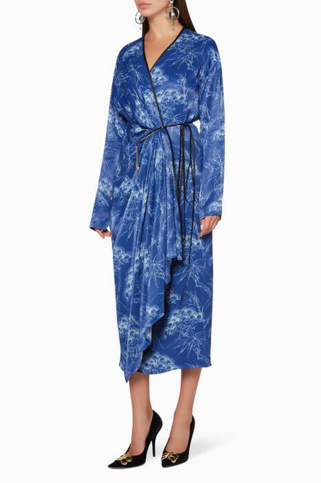 Bright-Blue Printed Viscose Wrap Dress