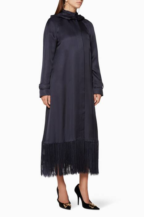 Navy Fringed-Hem Ramiro Coat
