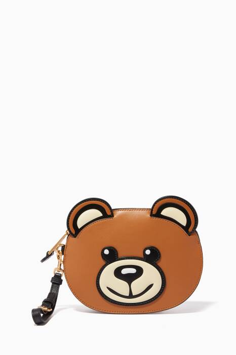 Brown Leather Teddy Clutch Bag