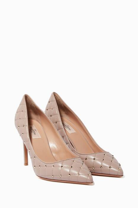 Light-Pink Rockstud Spike Court Quilted Pumps