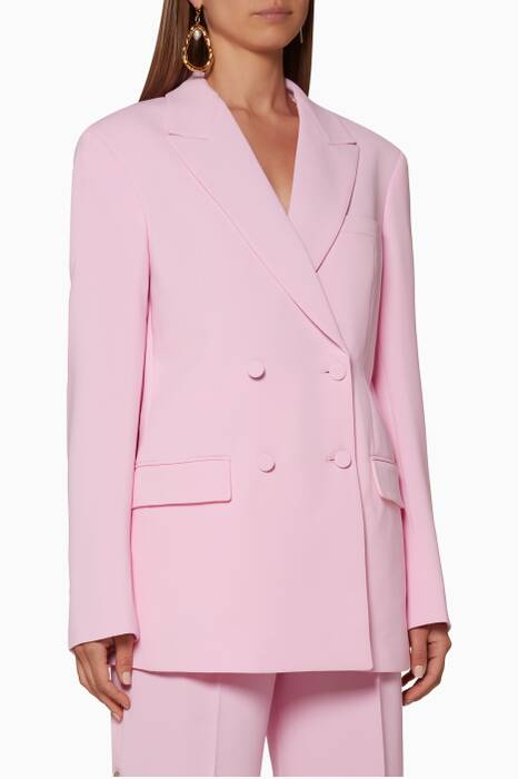 Pink Double-Breasted Oversized Blazer