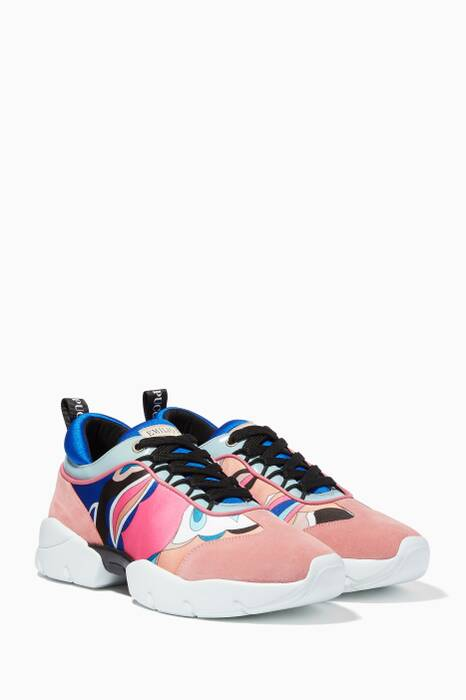 Multi-Coloured Printed Lace-Up Sneakers