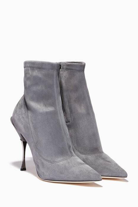 Grey-Smoke Suede Point-Toe Booties