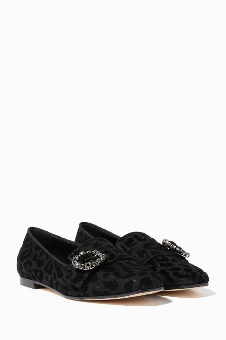 Black Leopard-Print Jewelled Loafers