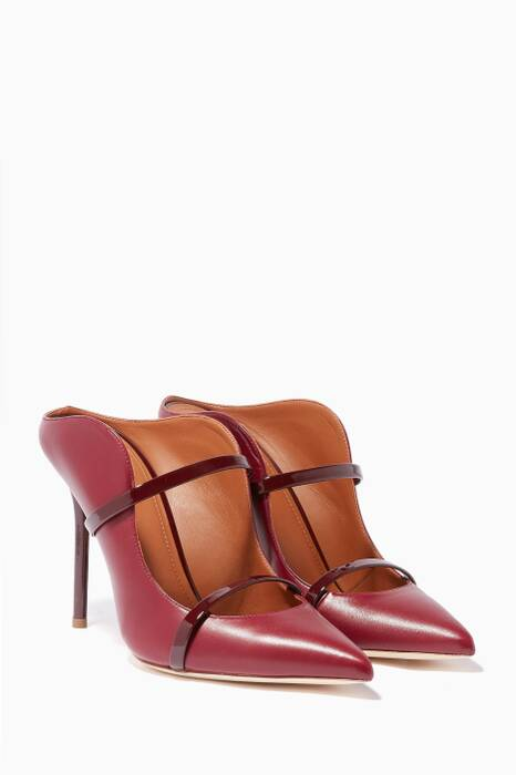 Dark-Red Maureen Point Toe Mules